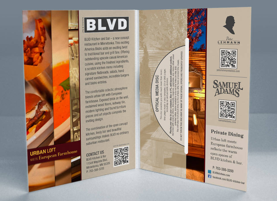 BLVD kitchen and bar | Media disc mailer interior