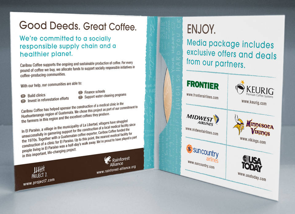 Caribou Coffee | Media disc packaging interior